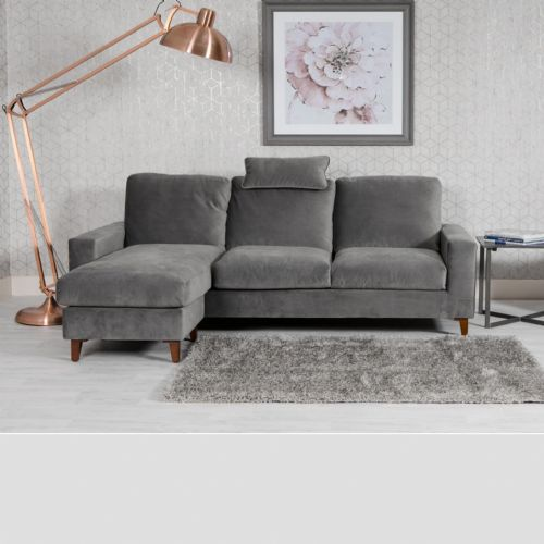 Home Essential NEL-309 - Plush Velvet Grey Chaise